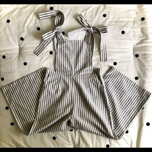Forever 21 Striped Wide Leg Overalls